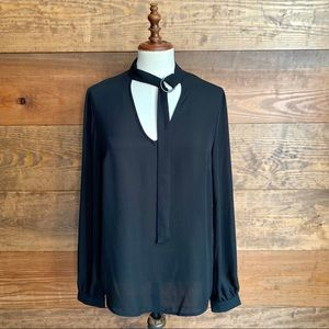 Who What Wear Black Buckle Neck Blouse